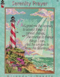 Miranda's Needle Serenity Prayer lighthouse cross stitch pattern