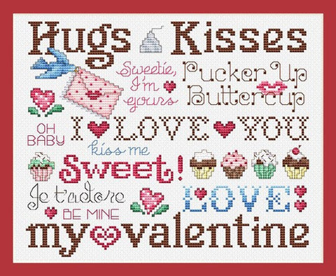 Sue Hillis Hugs and kisses valentines day cross stitch pattern