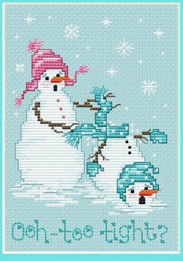 Sue Hillis Oh too tight snowman christmas cross stitch pattern
