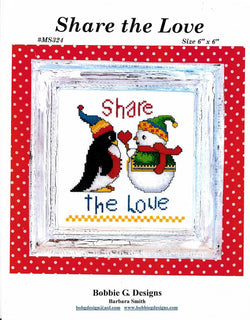 Bobbie G. Share the love Penquin cross stitch pattern