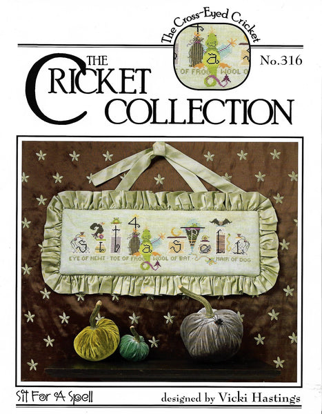 Cricket Collection Sit For A Spell, CC316 halloween cross stitch pattern