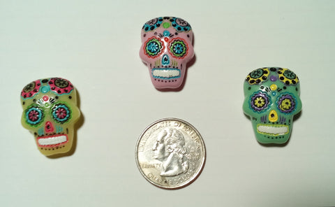 Sugar Skull colored resin cabachon cross stitch needle minders