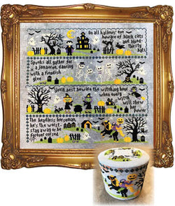 Tiny Modernist Sleepy Hollow part 4 Mystery Sampler Spooky Jamboree cross stitch pattern