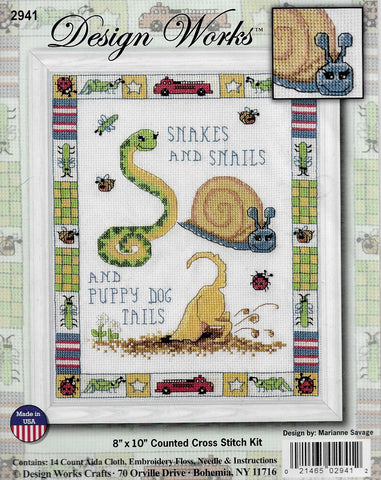 Design Works Snakes and Snails cross stitch kit