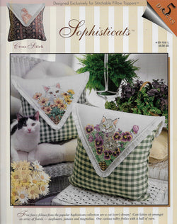 StitchWorld Sophisticats cat pillow topper cross stitch pattern