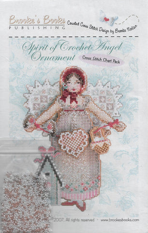 Brooke's Books Spirit of Crochet Angel ornament cross stitch kit