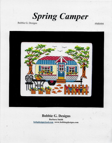 Bobbie G. Spring Camper cross stitch pattern
