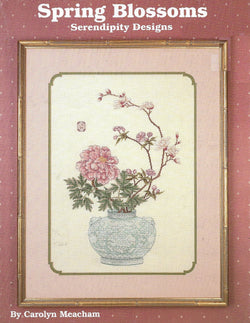 Serendipity Designs Spring Blossoms asian flower vase cross stitch pattern