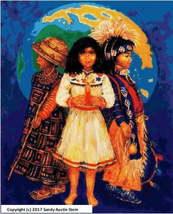 Austin thread crafts Children are the light of the world by Sandy Austin Stein native american cross stitch pattern