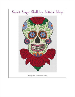 Artists Alley Sugar skull on roses cross stitch pattern