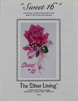Silver Lining Sweet 16 flowers rose cross stitch pattern