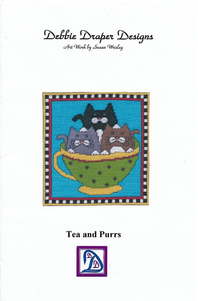Debbie Draper Designs Tea and Purrs cross stitch pattern