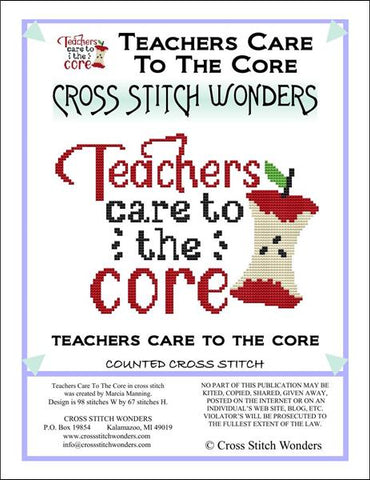 Carolyn Manning Teachers Care to the Core Cross stitch pattern