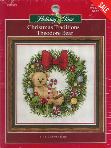 Leisure Arts Theodore Bear 351815 christmas cross stitch pattern