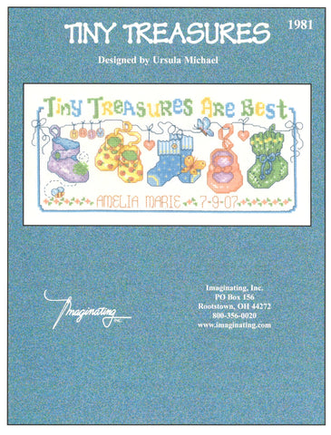 Imaginating Tiny Treasures 1981 birth sampler cross stitch pattern