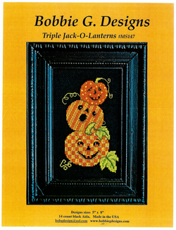 Bobbie G. Triple Jack-O-Lanterns Halloween cross stitch pattern