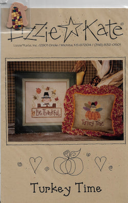 Lizzie Kate Turkey Time, LK073 Thanksgiving cross stitch pattern