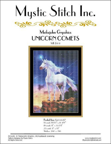 Mystic stitch Unicon Comets cross stitch pattern