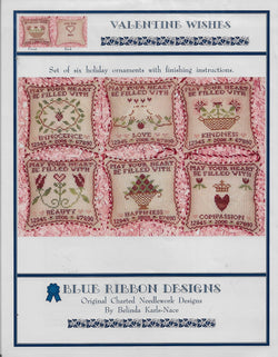 Blue Ribbon Valentine Wishes cross stitch pattern
