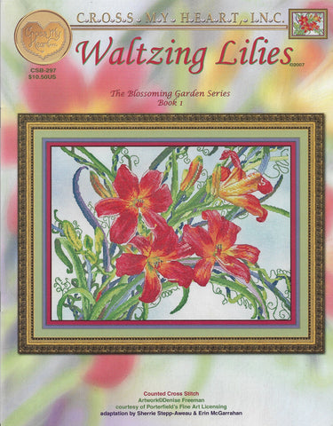 Cross My Heart Walting Lilies flower CSB-297 cross stitch pattern