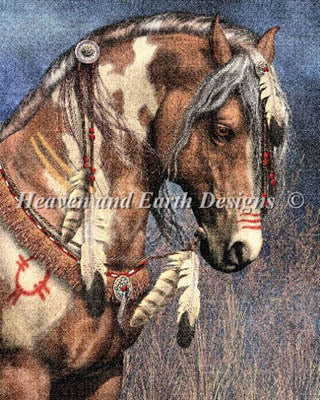 Heaven and Earth designs war pony laura prindle native american war horse cross stitch pattern