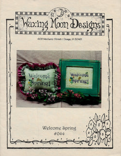 Waxing Moon Welcome Spring cross stitch pattern