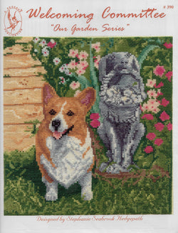 Pegasus Welcoming Committee corgi dog cross stitch pattern