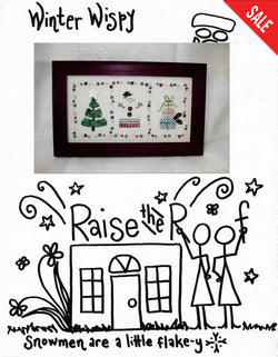 Raise the Roof Winter Wispy snowmen cross stitch pattern