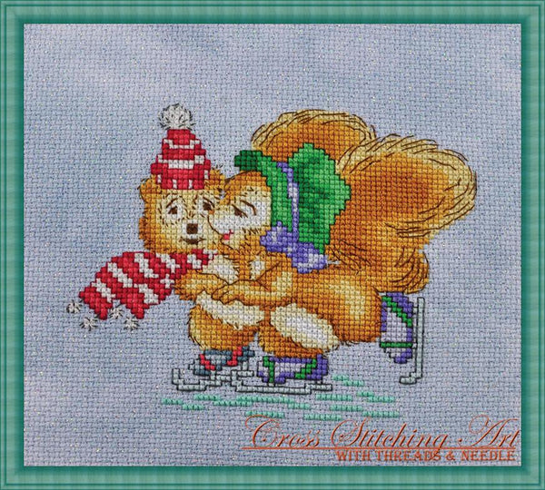 Cross Stitching Art Winter Joy animal cross stitch