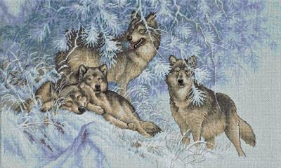 Dimensions Wintertime Wolves 35227 cross stitch kit
