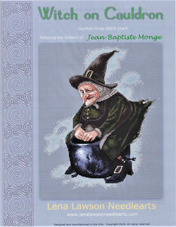 Lena Lawson Witch on Cauldron by Jean-Baptiste Monge cross stitch pattern