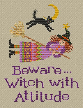 Sue Hillis witch hazel halloween cross stitch pattern