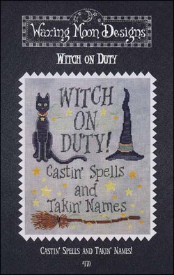 Waxing Moon Witch on Duty cross stitch pattern