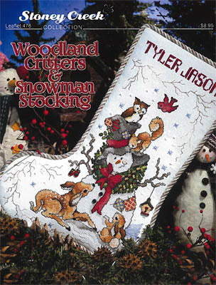 Stoney Creek Woodland Critters & Snowman Stocking LFT476 Christmas cross stitch stocking pattern