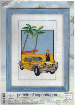 Permin of Copenhagen Yellow Car 92-8125 cross stitch kit