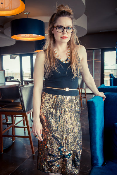 Golden Eye Sequin Skirt