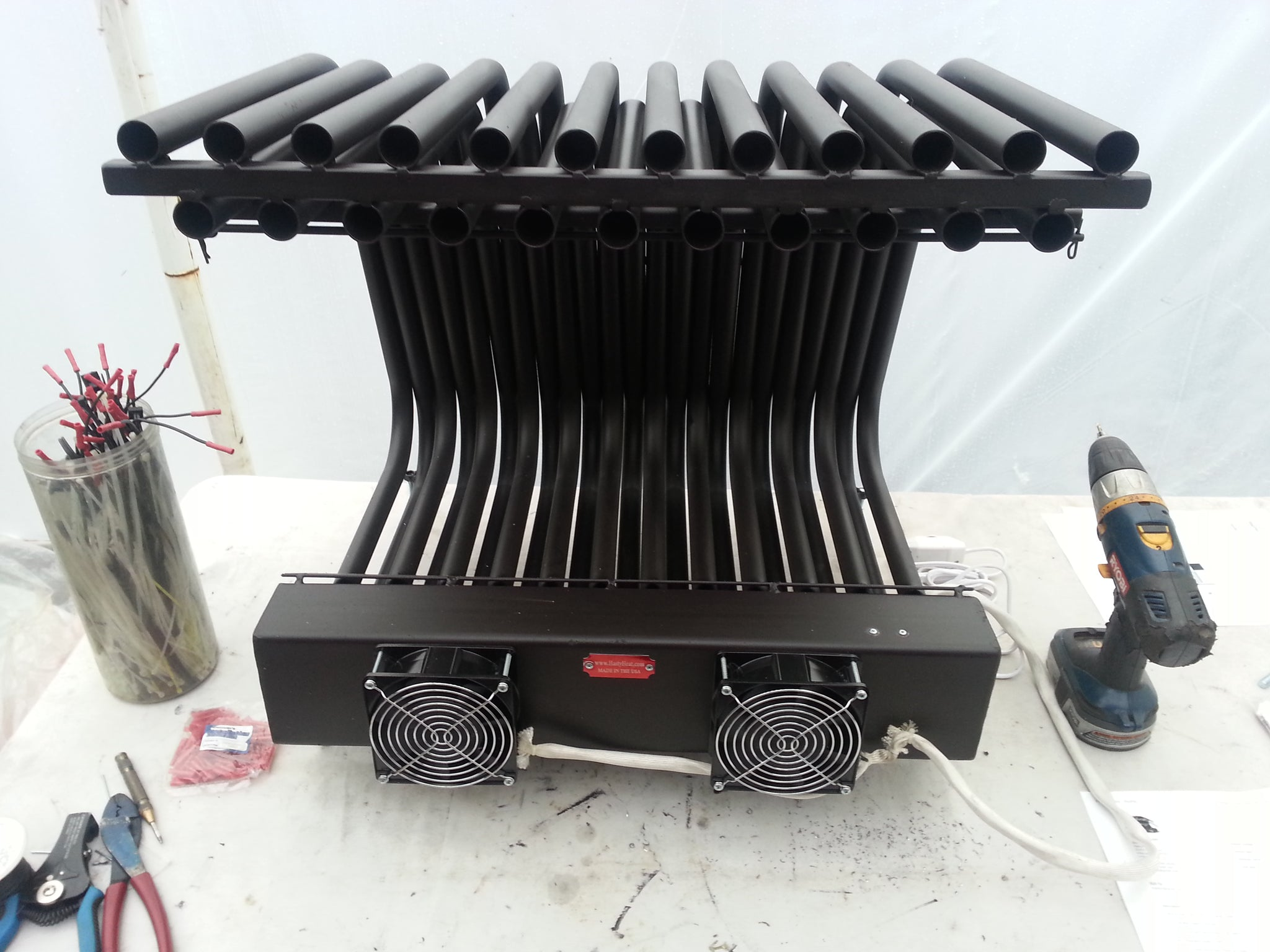 24DGR20TD Double Row Fireplace Grate Heater Exchanger 220 CFM Blower