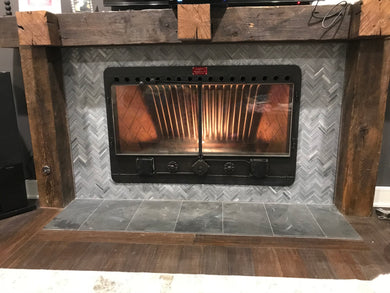 CFI Custom Wood Burning Fireplace Insert Heat Exchanger Heatilator With Ceramic Glass Doors