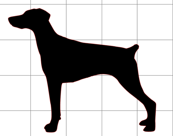 Doberman Silhouette (Natural Ears - Docked Tail) (Decal)