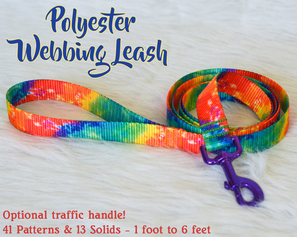 Polyester Webbing Leash - Optional traffic handle - 1 ft to 6 ft!