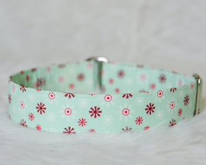Red White Snowflakes on Mint