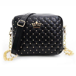 Fashion Women Messenger Leather Bags Rivet Chain Shoulder Bag PU Quiled Crown