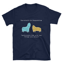 Serotonin & Dopamine Short-Sleeve Unisex T-Shirt - Black/ Navy