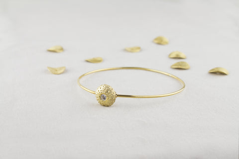 gold plated sea urchin bangle