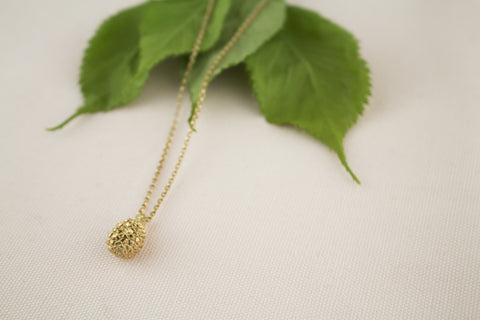 gold plated pine cone necklace