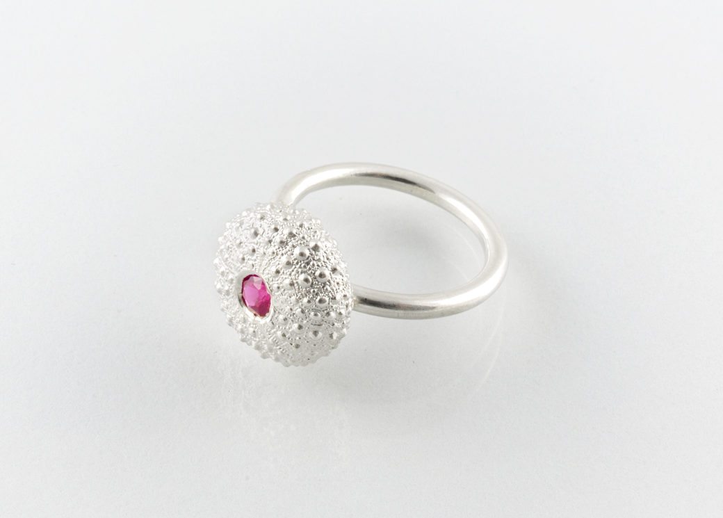 SEA URCHIN ring, small - silver - Jennifer Kinnear Jewellery - sea urchin collection