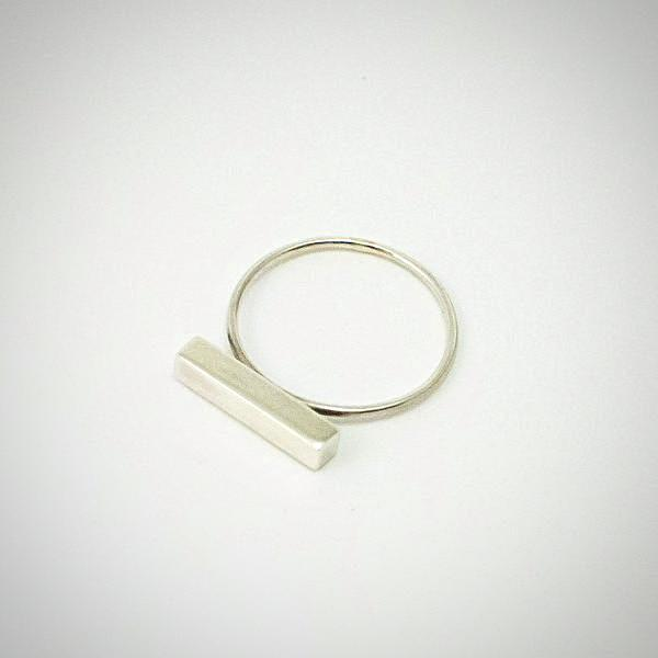 Silver block ring