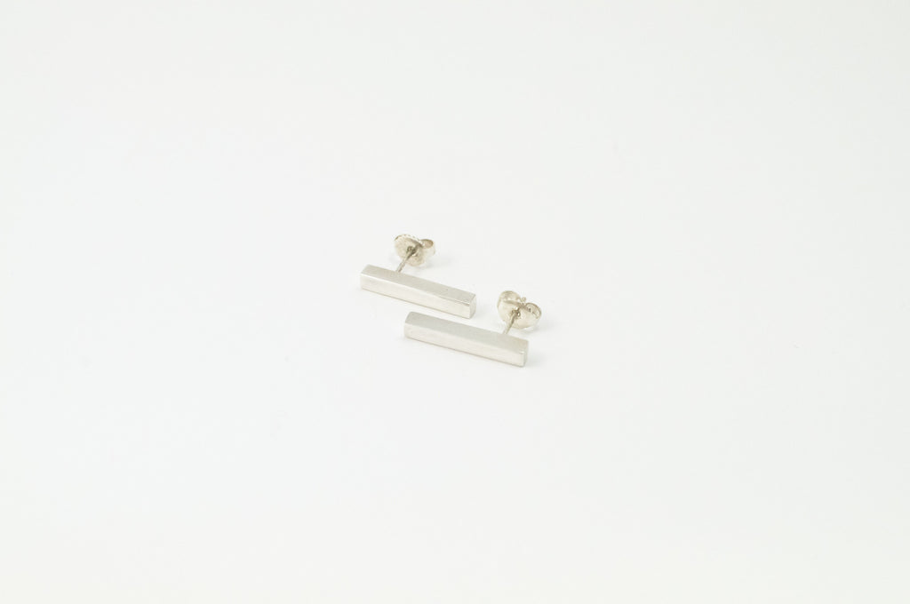 Silver block earrings