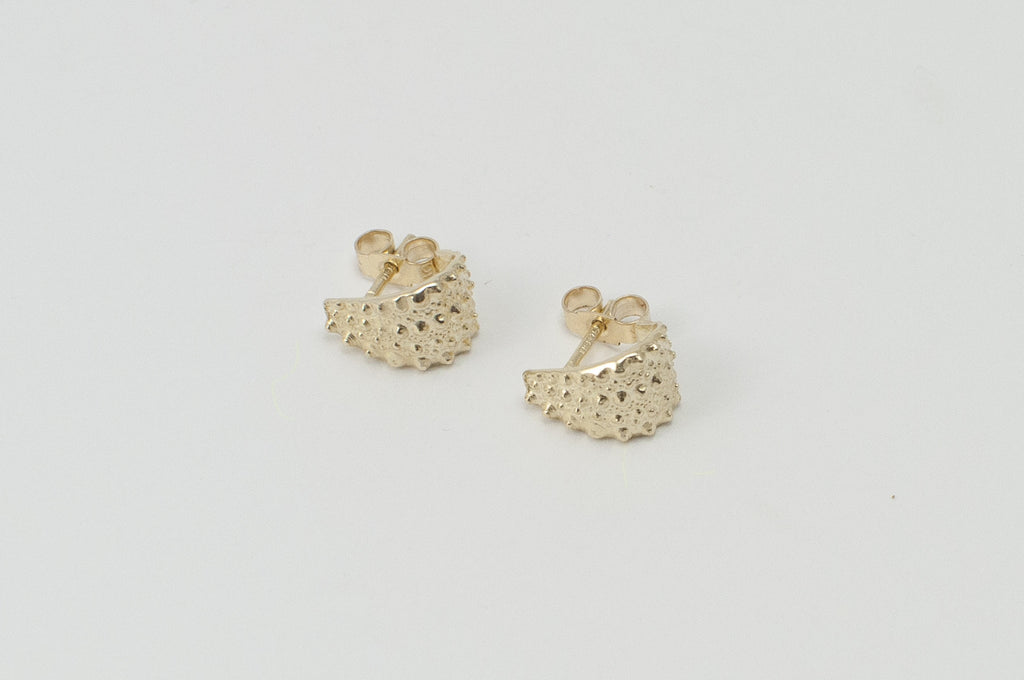 Gold sea urchin stud earrings