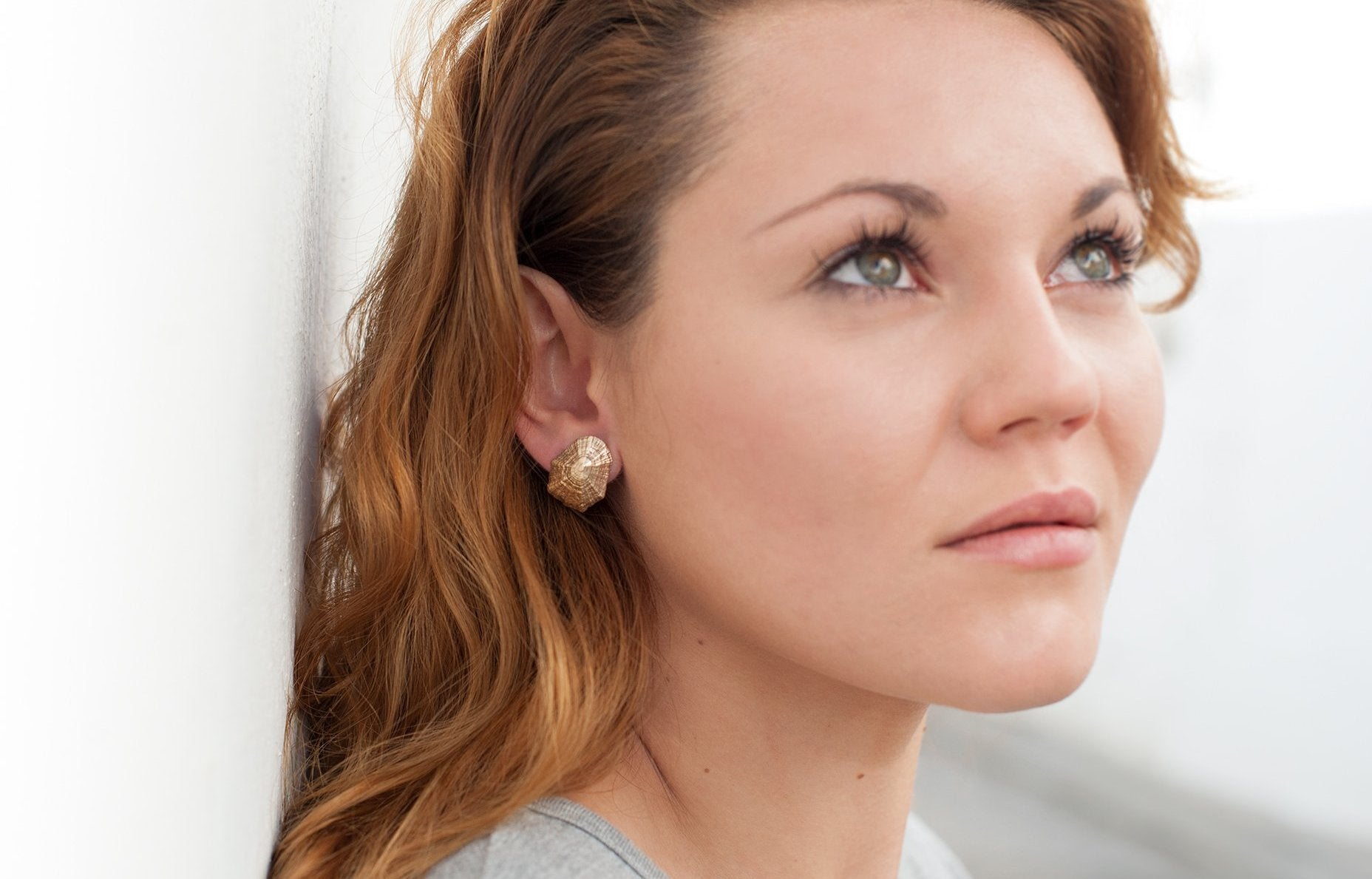 LIMPET SHELL stud earrings - goldplated - Jennifer Kinnear Jewellery - Shell collection